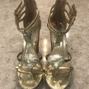 Steve Madden multi media metallic wedges